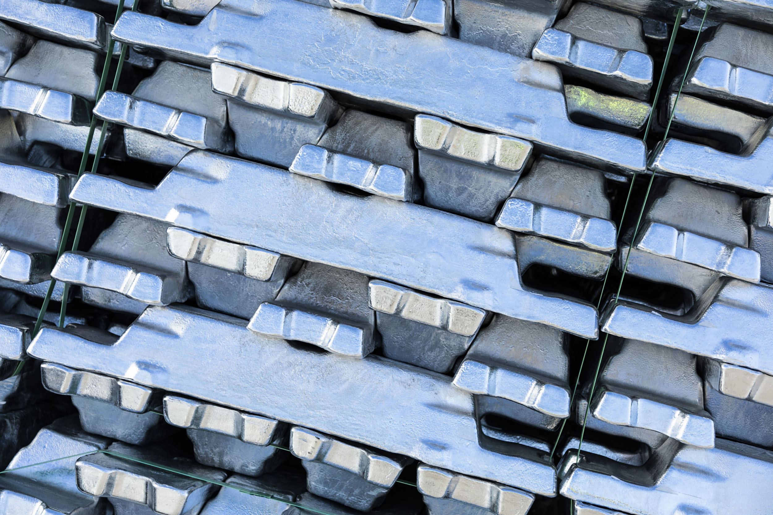Stacked metal ingots. Paul Scott Photography, industry.